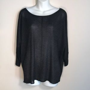 360 Sweater thin blk/silver 3/4 slv, loose fit. L